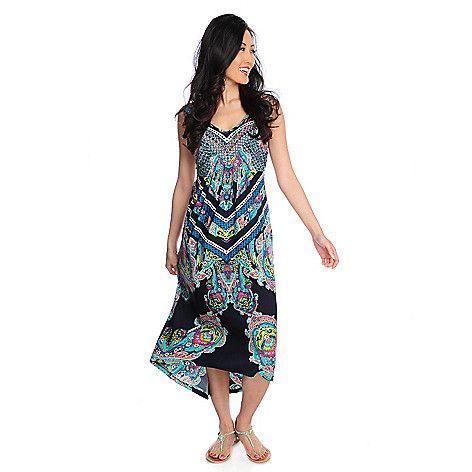 712-494 - One World Stretch Knit Sleeveless Embellished Hi-Lo Maxi Dress