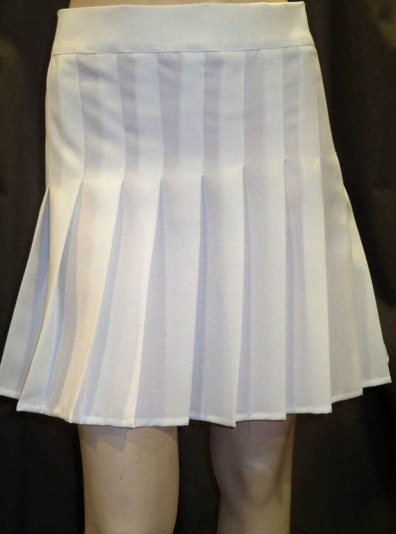 292af773b Solid White Sewn Down Pleated Skirt~Tennis White Pleated Skirt~Small to Plus  Size