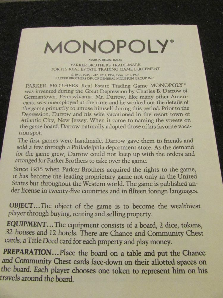 1973 Monopoly Rules And Directions Original Board Game Parts