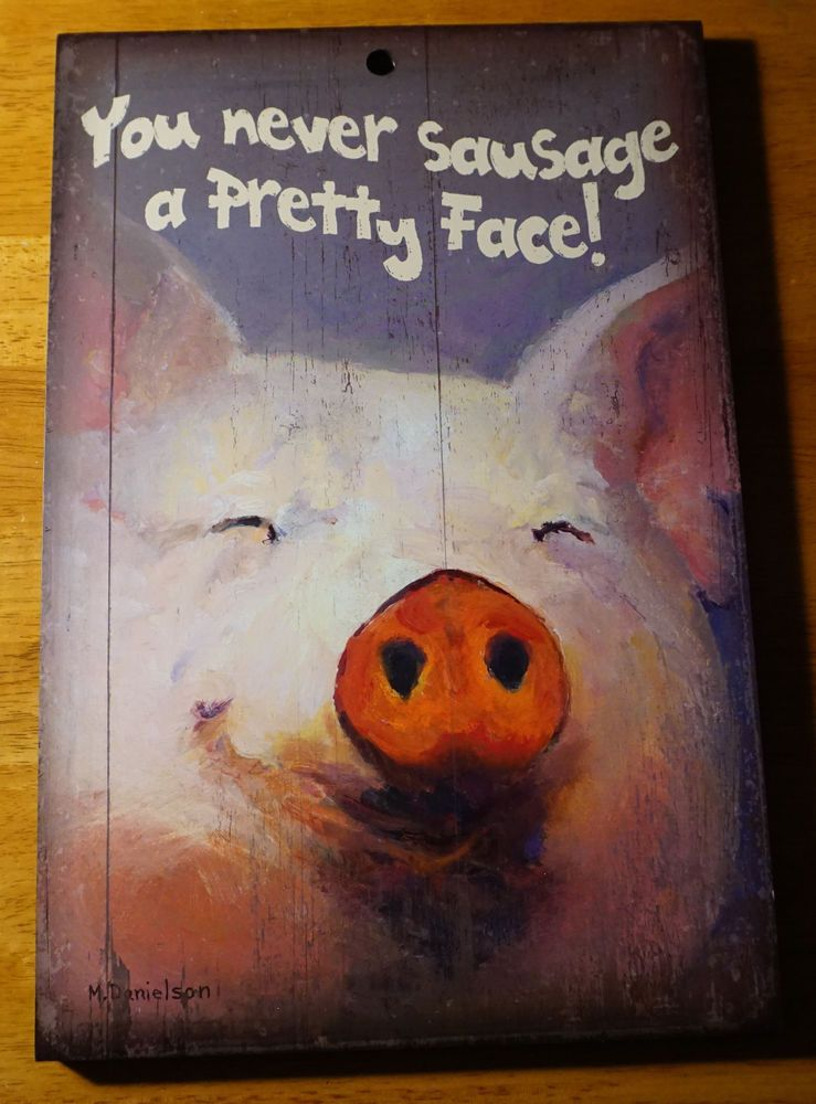 YOU NEVER SAUSAGE A PRETTY FACE PIG Rustic Country Kitchen Sign Home Decor  NEW #WildWings