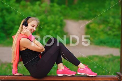 Fitness music headphones girl Stock Photos #AD ,#headphones#music#Fitness#Photos