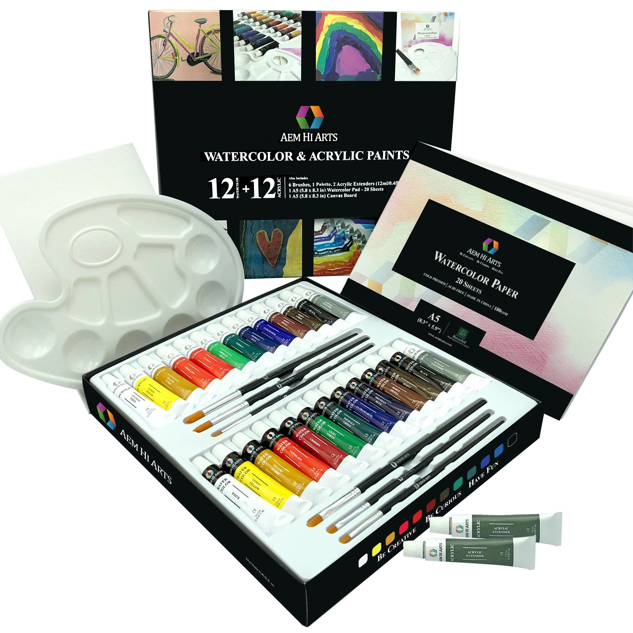 Art Kit With Watercolor And Acrylic Paint Set By Aem Hi Arts 12