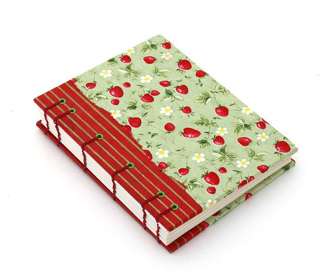 Strawberry Chiyogami handmade book by @Ruth H. Bleakley