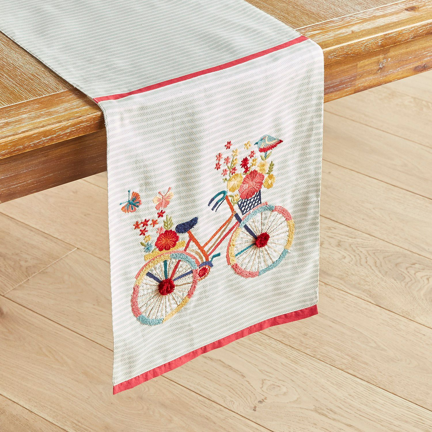 Floral Bicycle 108 Embroidered Table Runner Pier 1 Imports