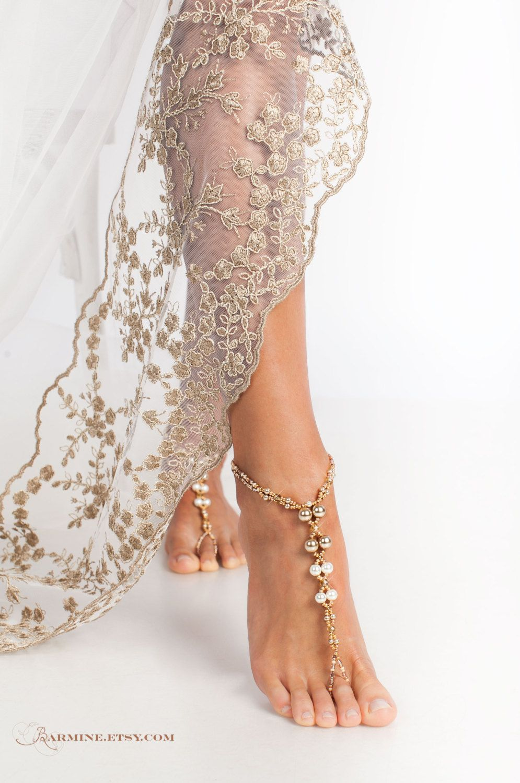 Beach wedding foot jewelry  Champagne Gold Bridal barefoot sandals Beach wedding foot jewelry