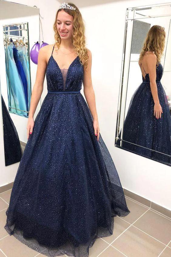 A-line Deep V neck Spaghetti Straps Sparkle Prom Dress