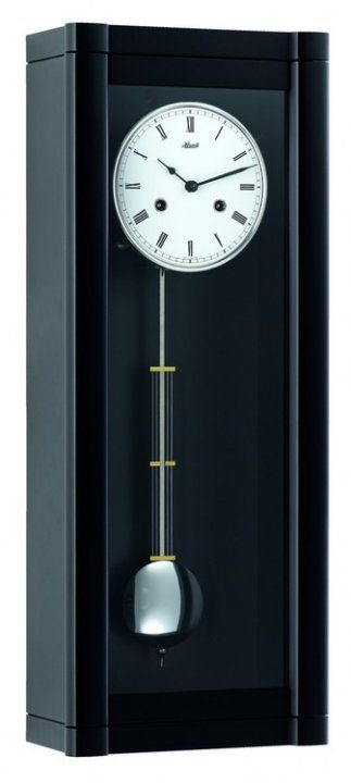 Hermle 70963 740141 Rosslyn Wall Clock Hermle Rosslyn Wall Clock Features Exclusive Solid Wood Case With Black Finish Mechanical Brass 8 Day Cable D Wall Clock
