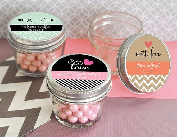 Personalized 4 Oz Mason Jar And Labels Mini Wedding Favors Small Jars With Lids 12 Pcs