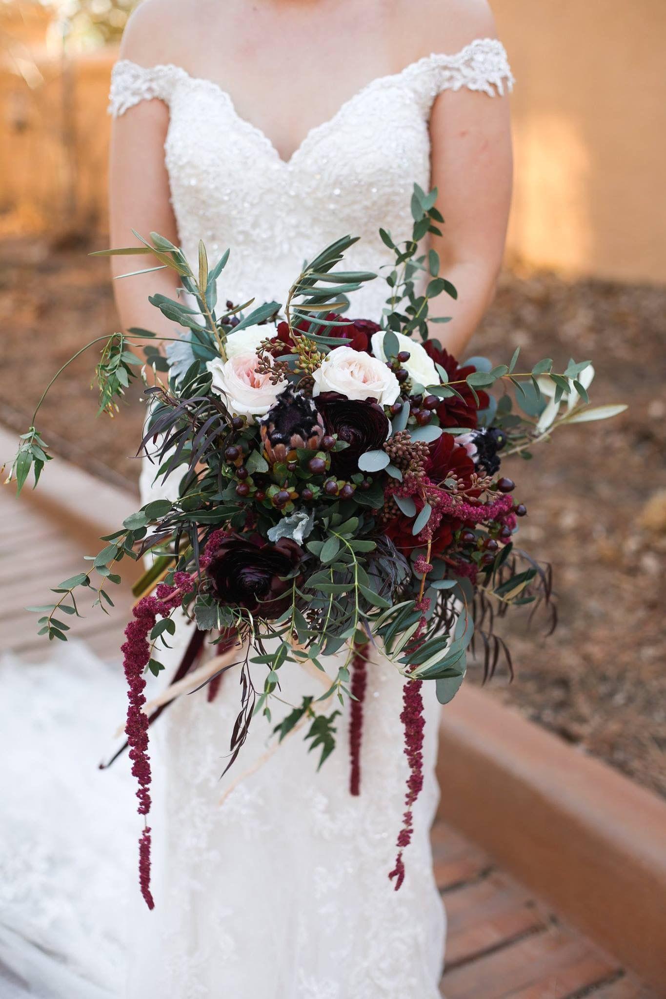 Burgundy Marsala organic styled bridal bouquet, wedding