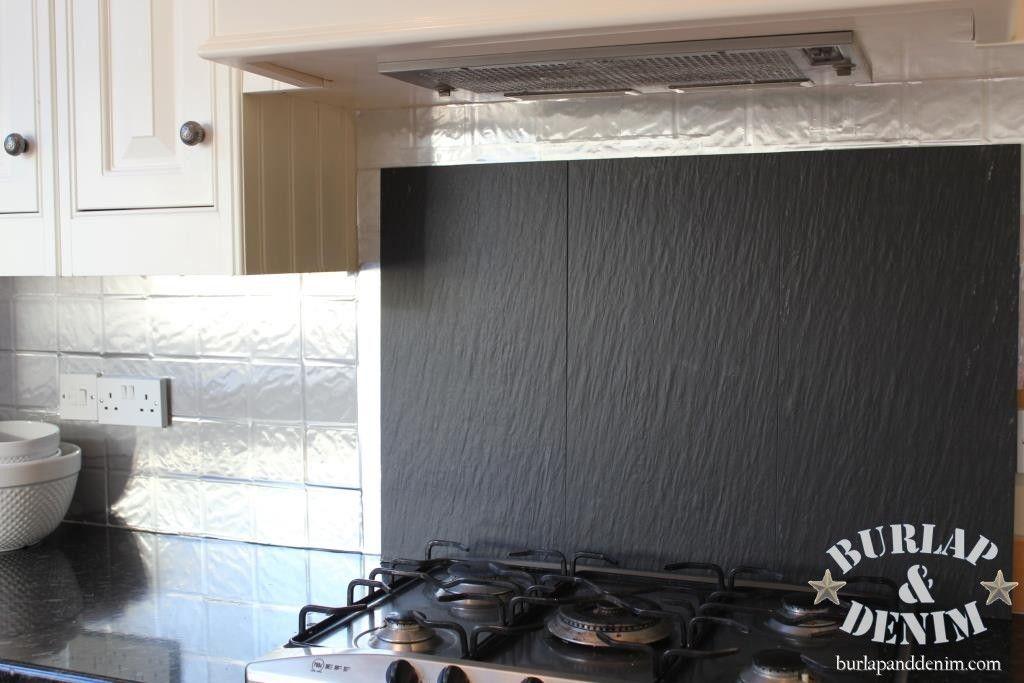 Diy Stainless Steel Backsplash With Black Floor Tile Chalk Board