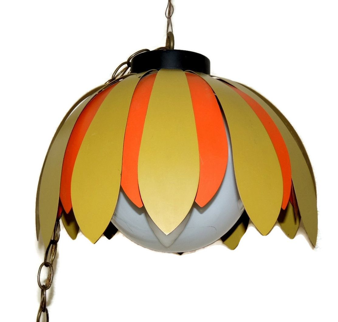 Vintage 70s daisy light fixture orange green olive hanging lamp this might be one of the coolest 1970s light fixtures you will find a crazy arubaitofo Gallery