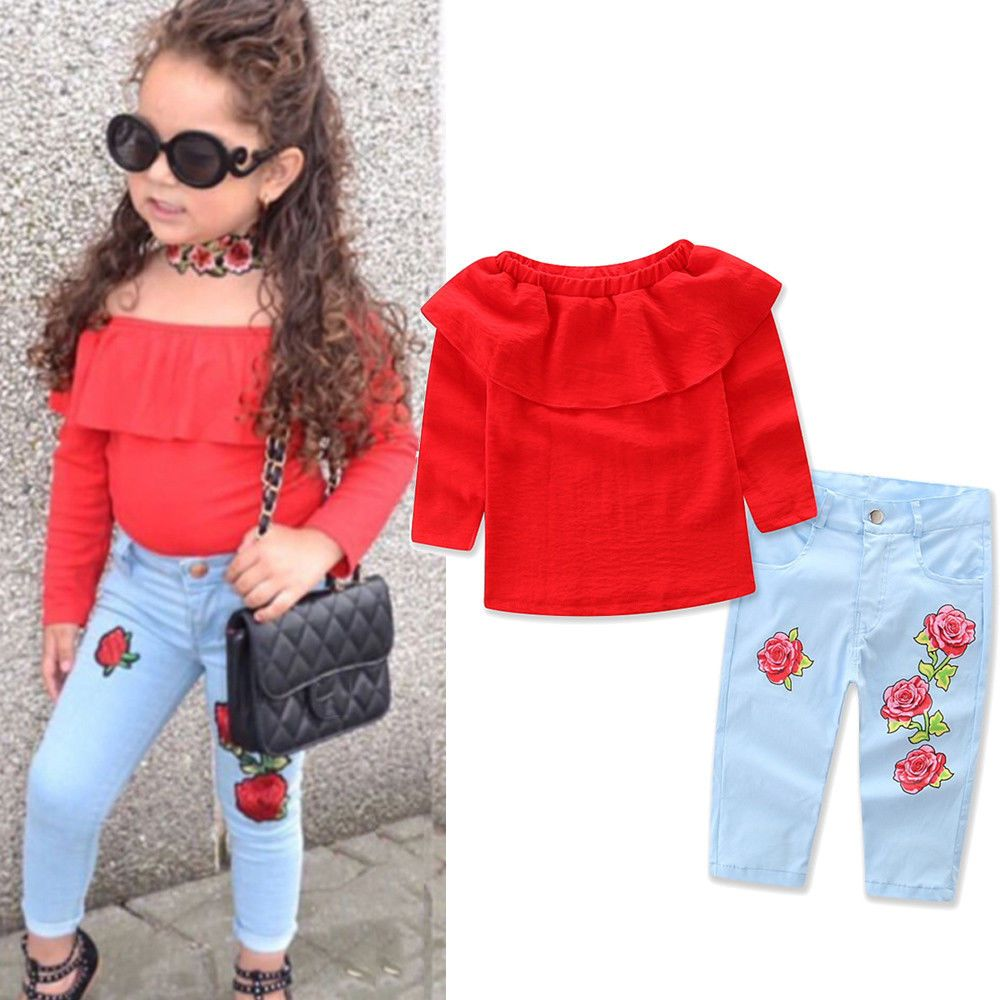 f1c702c0ea47 Kids Baby Girl Outfit Sets Shirt T-shirt Tops+Long Pants Jeans Clothes US  STOCK  Divawear