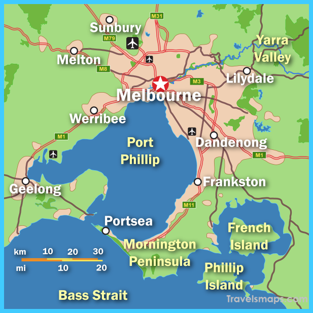 cool Map of Melbourne Travelsmaps Pinterest Melbourne Travel
