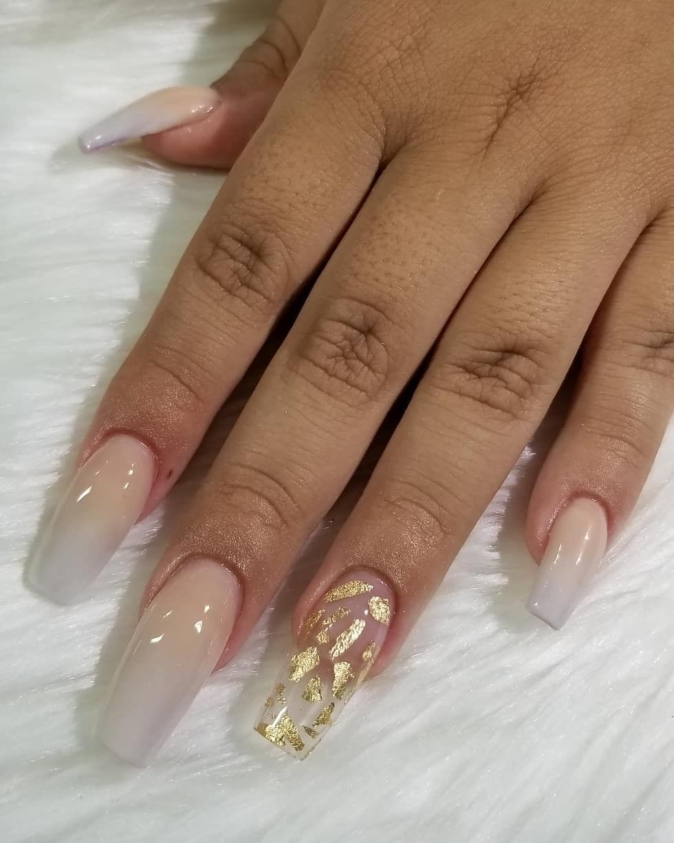 Beige And Satin White Ombre With Encapsulated Gold Foil Waconails Naildesignsbybetty Wacoquinceaneras Acrylicnails White Nails With Gold Nails Gold Nails