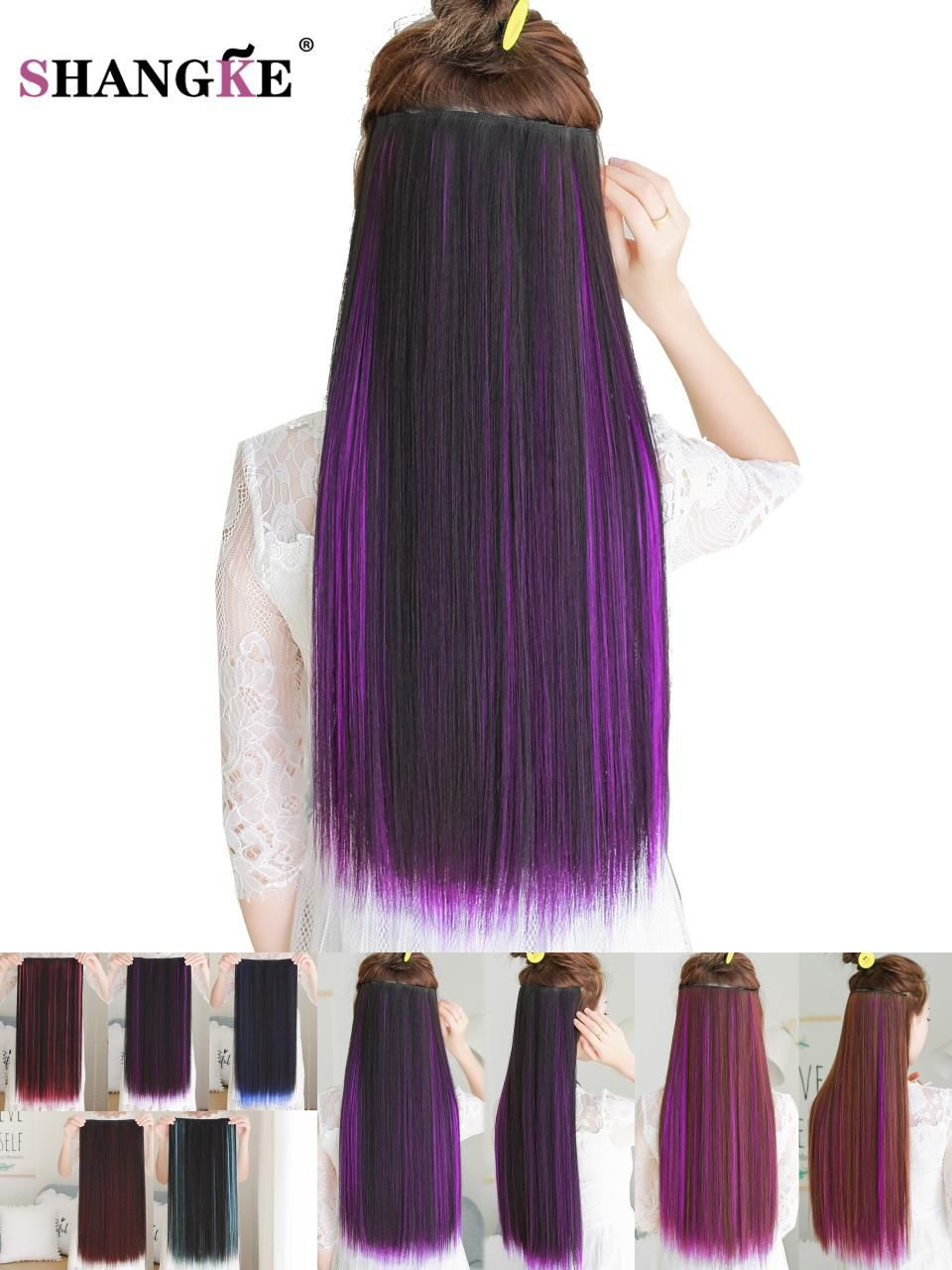 Visit To Buy Shangke 24long Colored Hair Extension 5 Clip In Hair