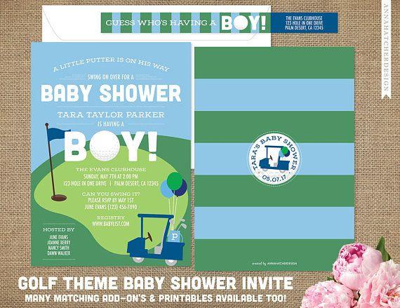 Golf Theme Baby Shower Invitations / Golf Baby Shower