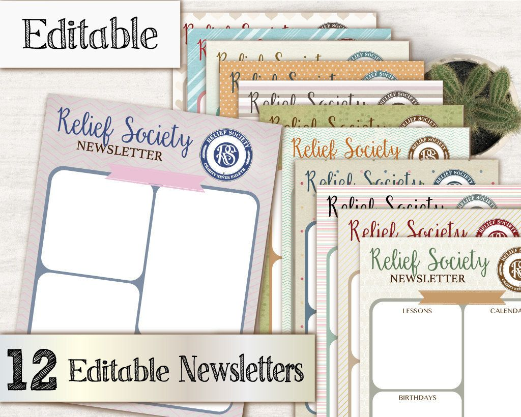 Newsletter Relief Society, Editable PDF, Newsletters