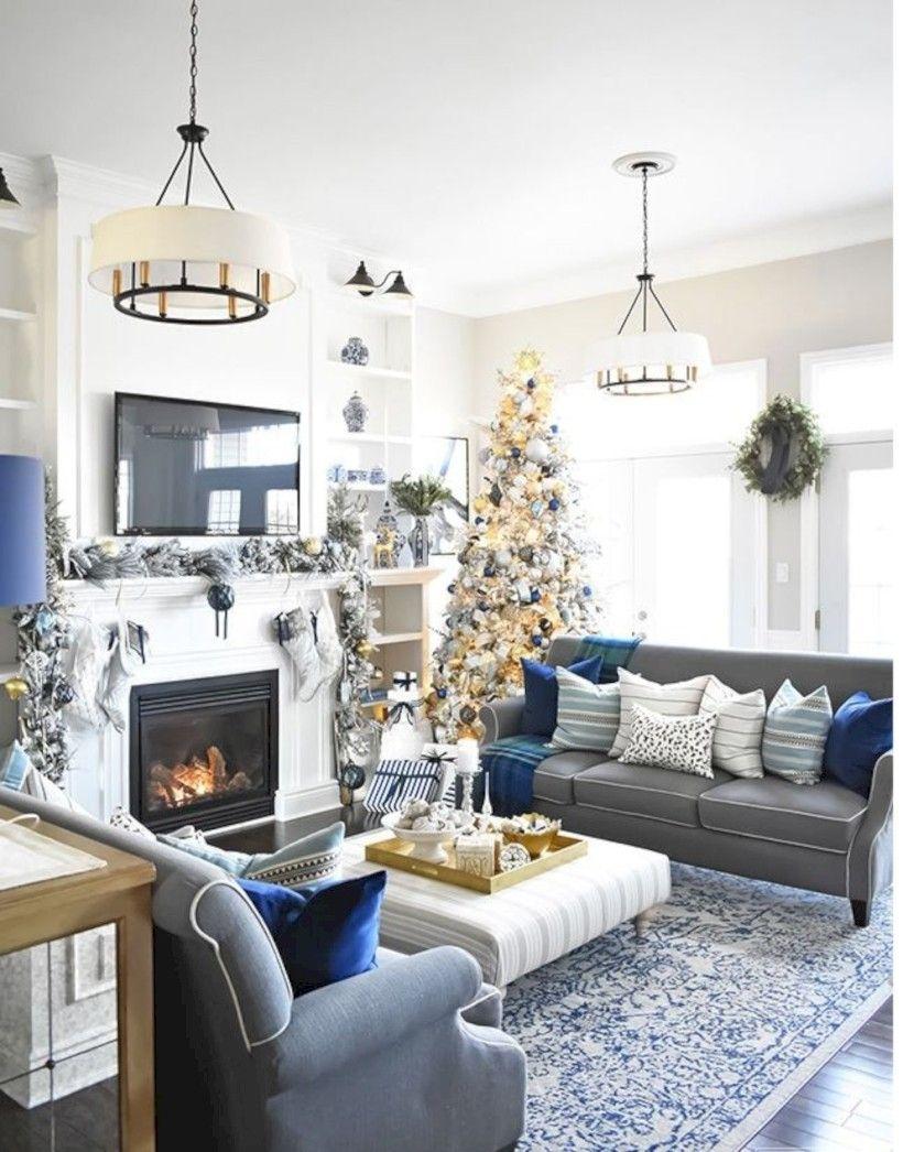 31 Elegant Living Christmas Home Tours Design Homeridian Com Blue Living Room Blue And Gold Living Room Silver Living Room