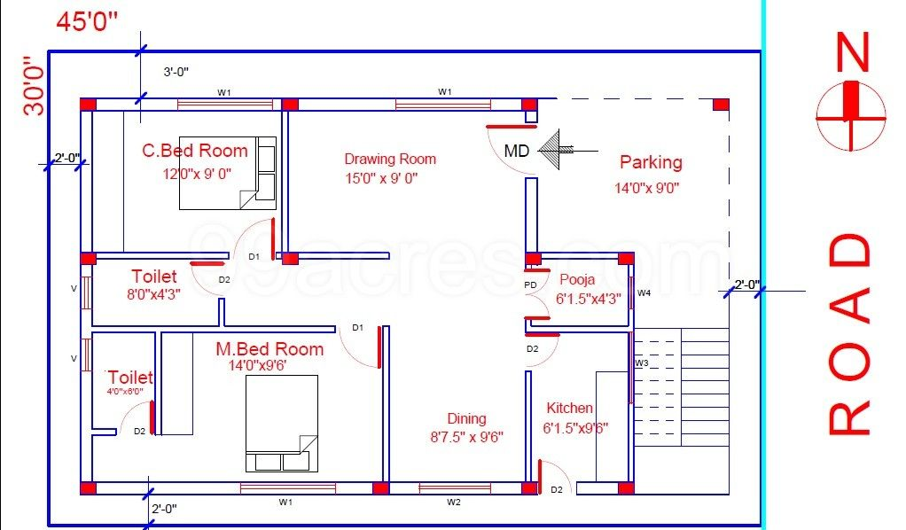 Related Image Indian House Plans 2bhk House Plan 30x40 House Plans