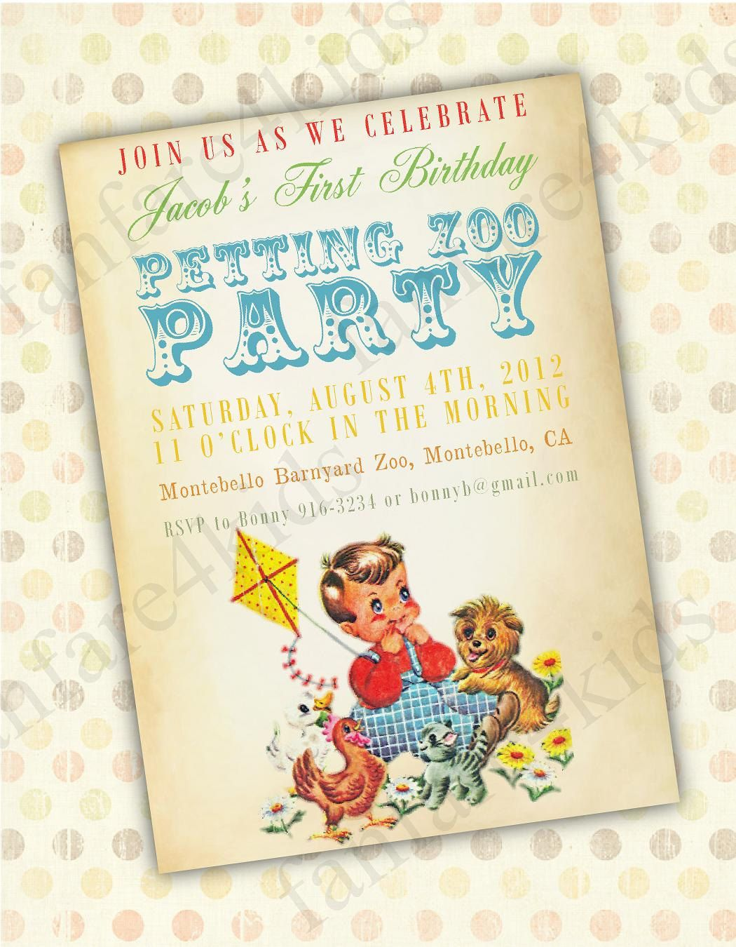 Vintage Petting Zoo DIY Printable Little Boy Birthday Invitation ...