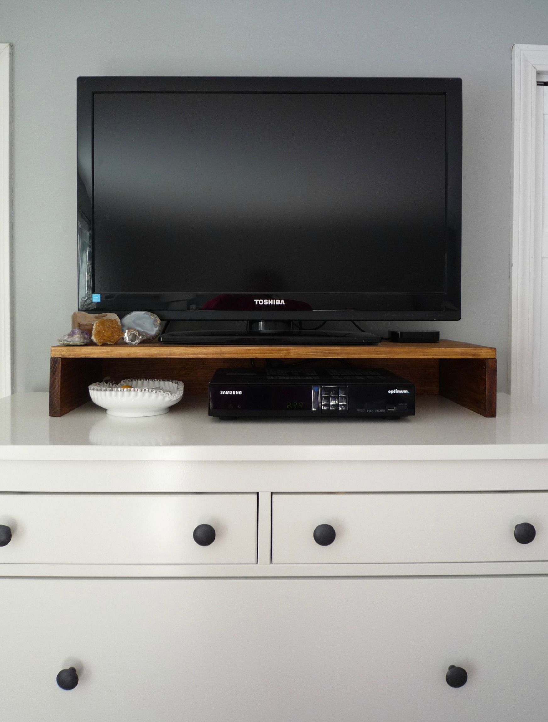 Make A TV Stand For The Top Of Your Dresser Or Console To Hold Cable Boxes