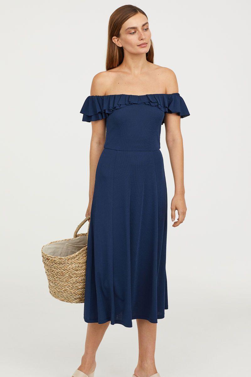 Off-Shoulder-Kleid   Dunkelblau   DAMEN   H&M DE   Kleider ...