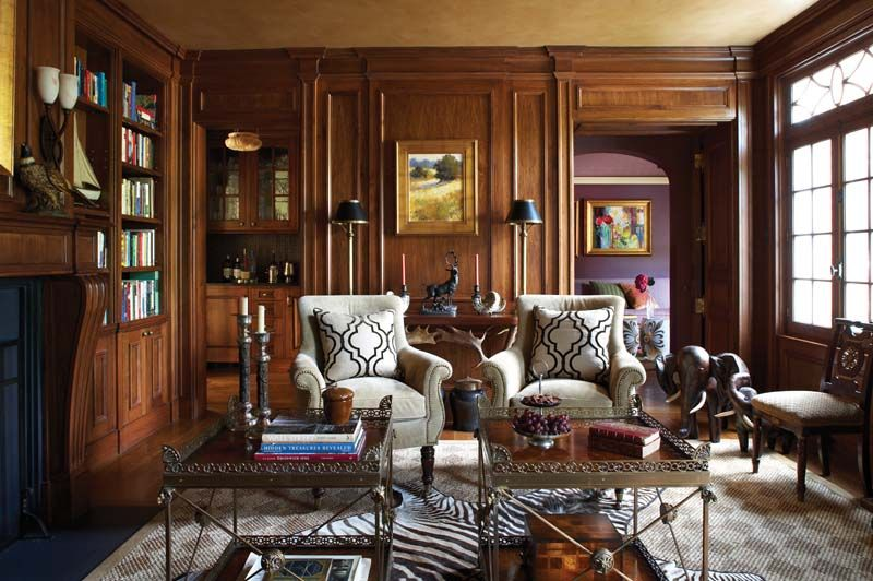 Masculine Library With Dark Wood Paneling Interior Design Cindy Rinfret Photo Michael Partenio New England Home