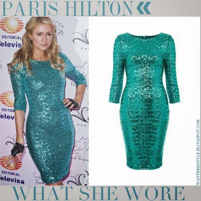 Paris Hilton in turquoise sequin dress | Celebrity fashion ...