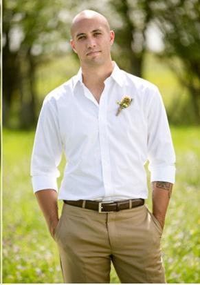 White Shirt Khaki Pants Mens Wedding Attire Groomsmen Attire Khaki Casual Wedding Attire