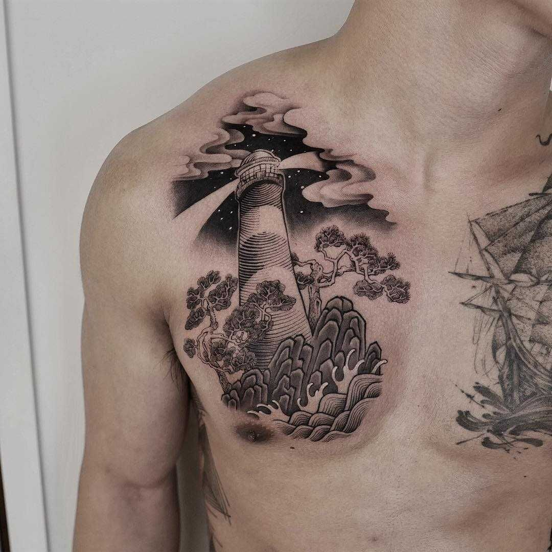 Lighthouse Tattoo On The Right Side Of The Chest Lighthouse Tattoo Tattoos Back Tattoo