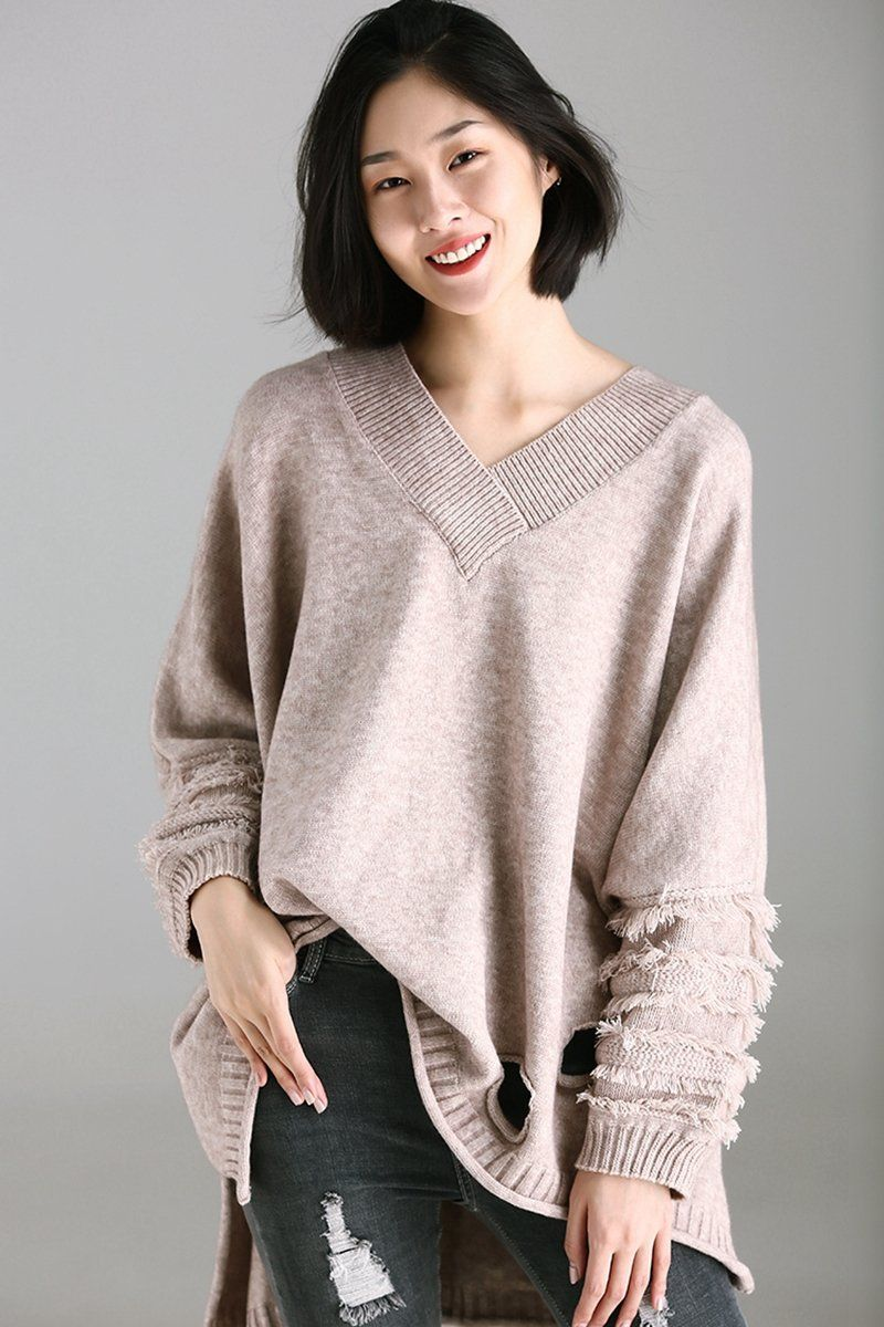 73478d8251 Women Loose V Neck Hole Sweater Fall Tops M2371