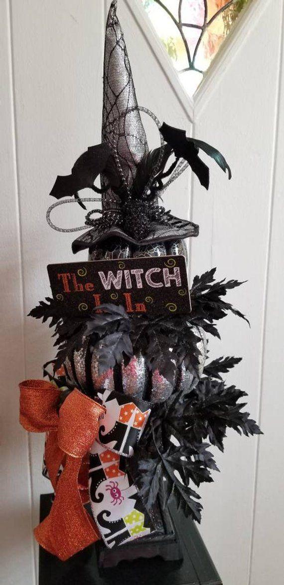 Pumpkin Centerpiece Halloween Centerpiece Witch Centerpiece