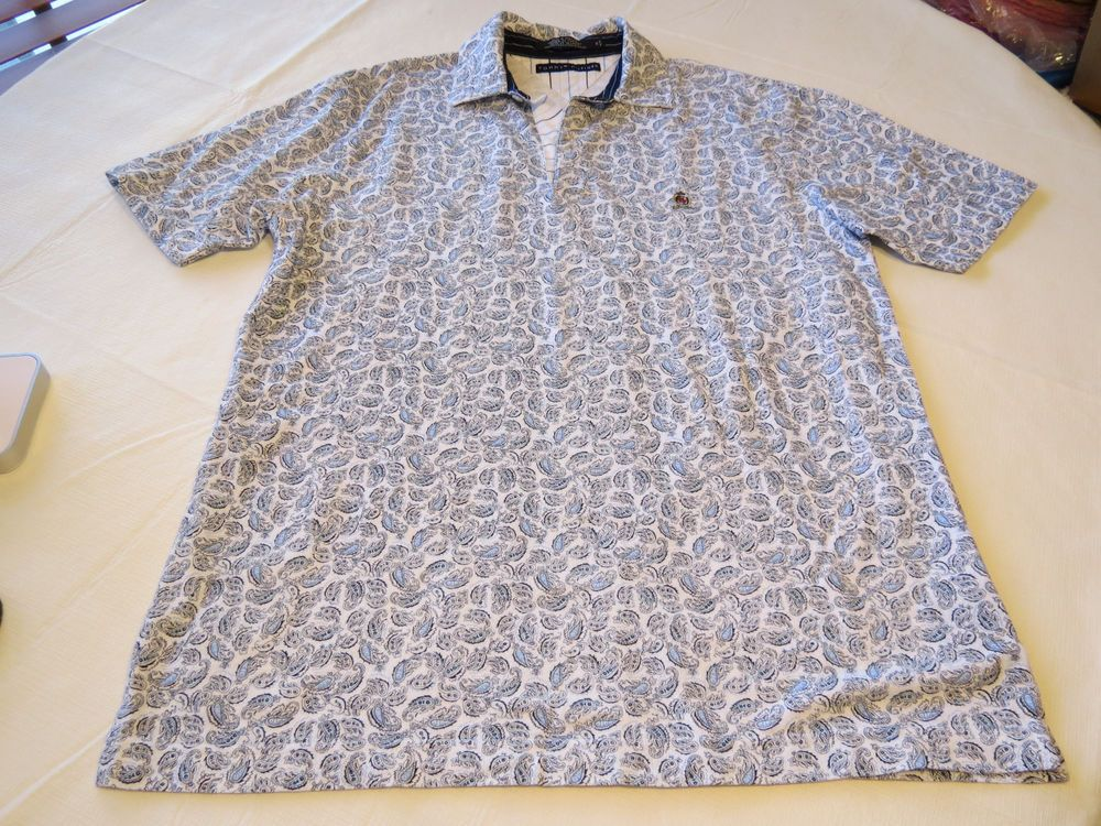 Tommy Hilfiger Mens short sleeve polo shirt M paisley white blues EUC@ #TommyHilfiger #PoloRugby