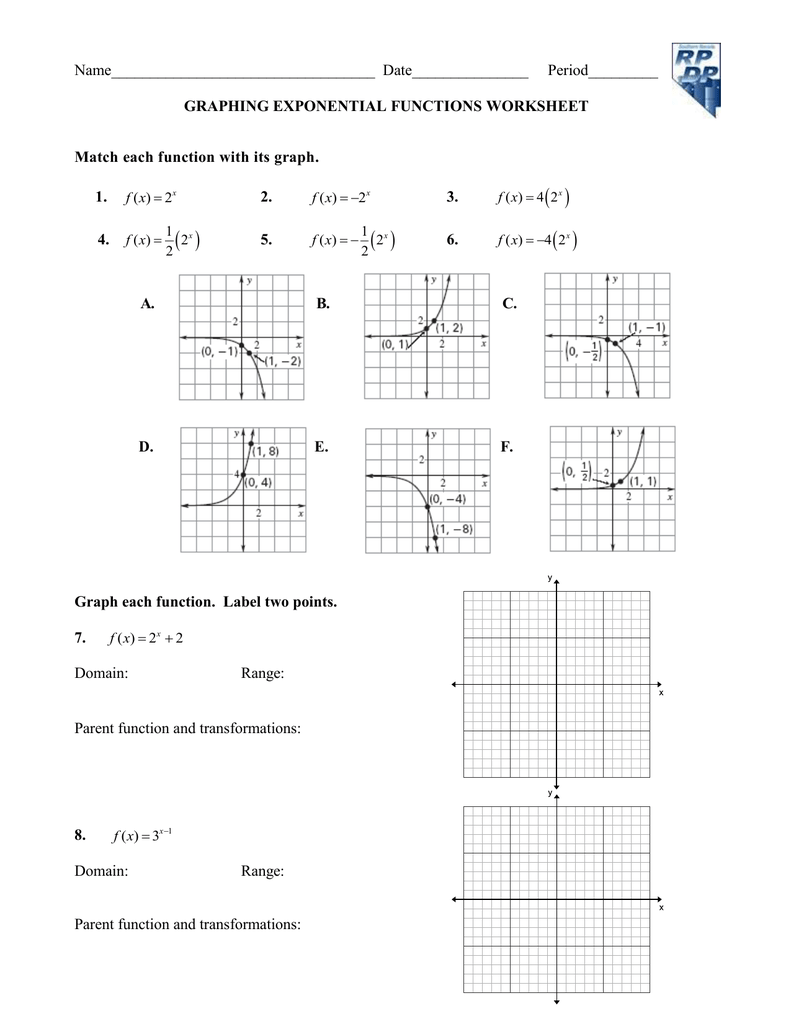 Answer Graphing Exponential Functions Worksheet   worksheet