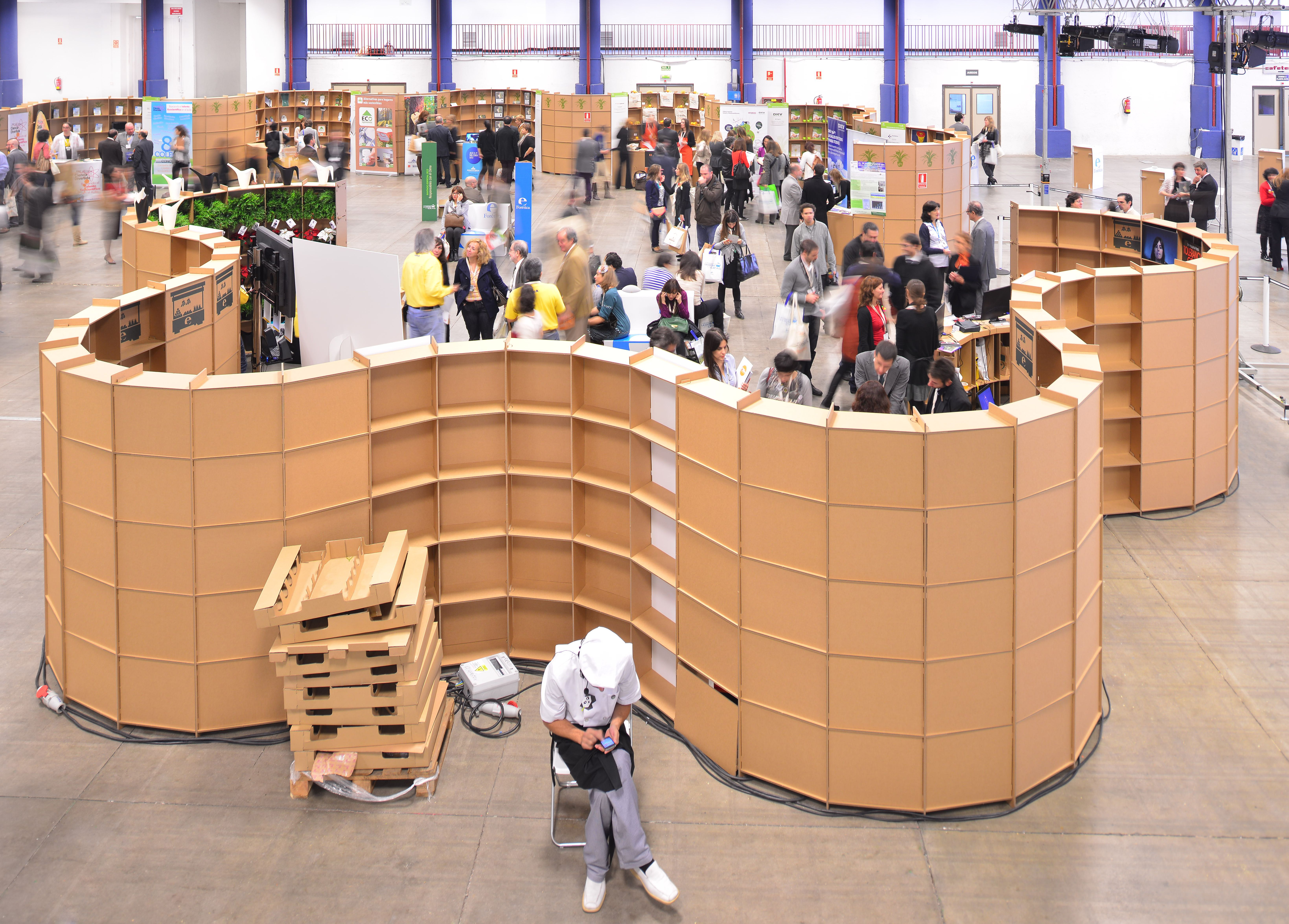 Curved Cardboard Stand Cartonlab Trade Booth S Shape Design Foretica Csr  Event