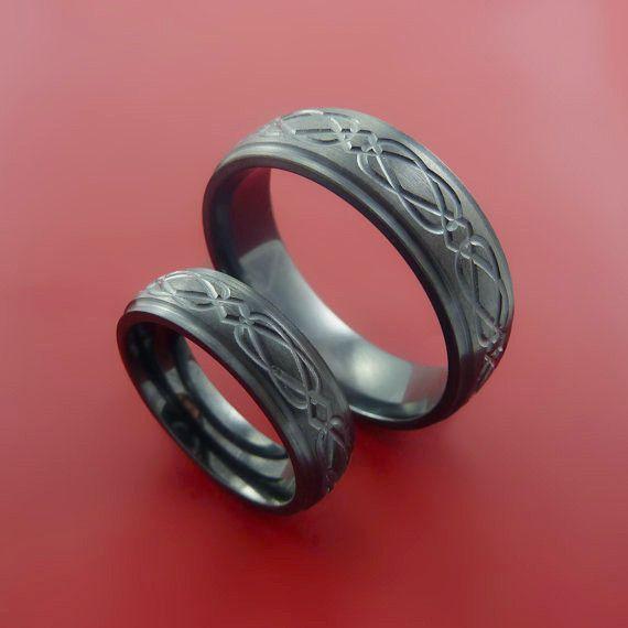 Black Zirconium Celtic Band Infinity Symbolic Wedding Ring Set Custom Made