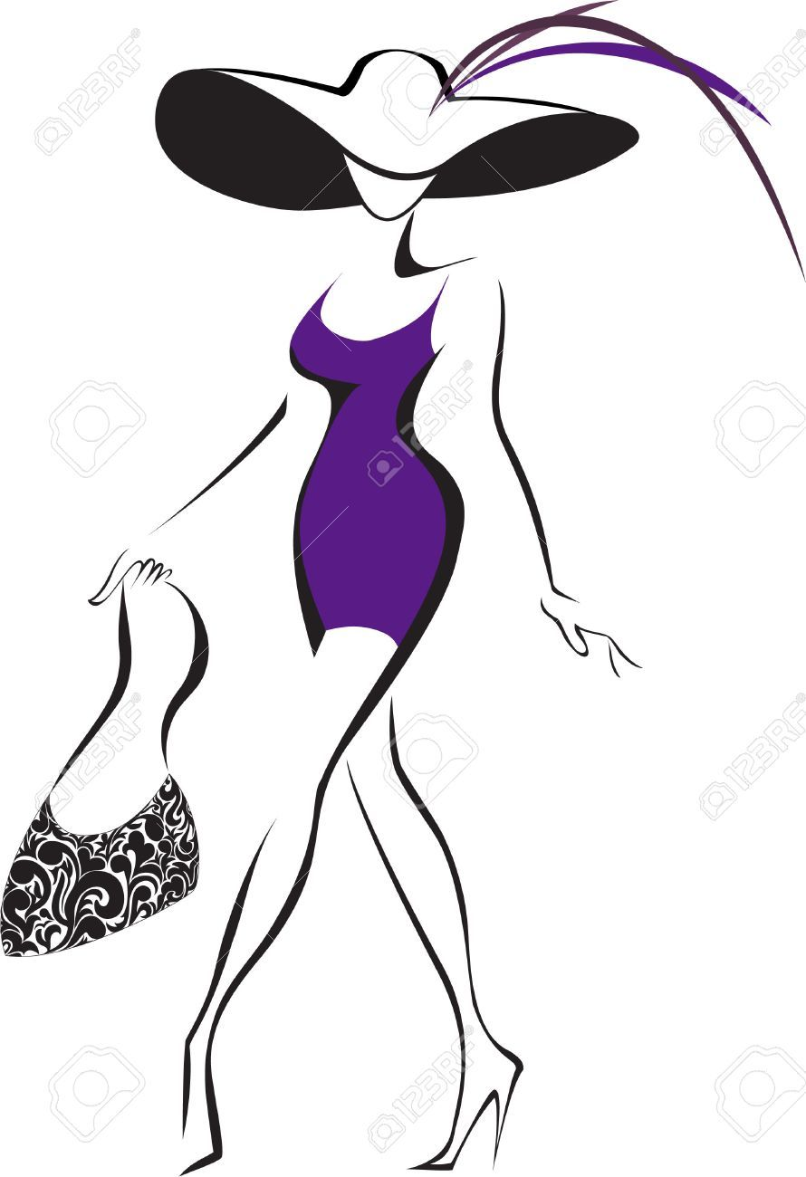 6d4bc3830b9547 Slim Silhouette Running Woman In A Hat And A Bag Royalty Free Cliparts