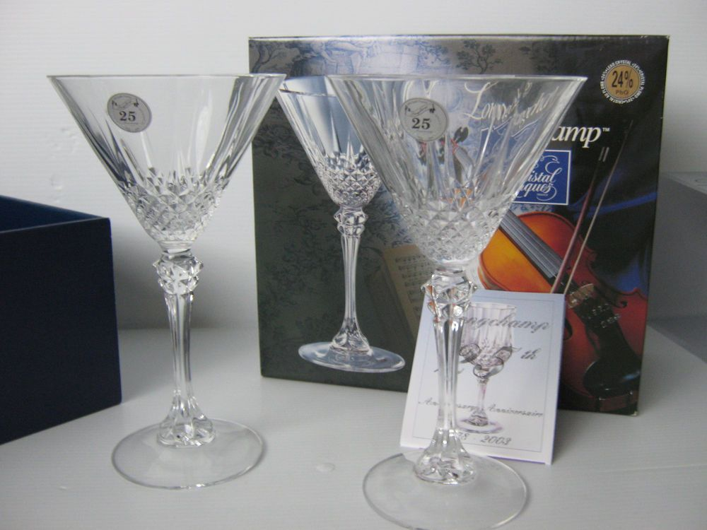 cristal d 39 arques longchamp 24 lead crystal martini glasses 25th anniversary martinis and glass. Black Bedroom Furniture Sets. Home Design Ideas