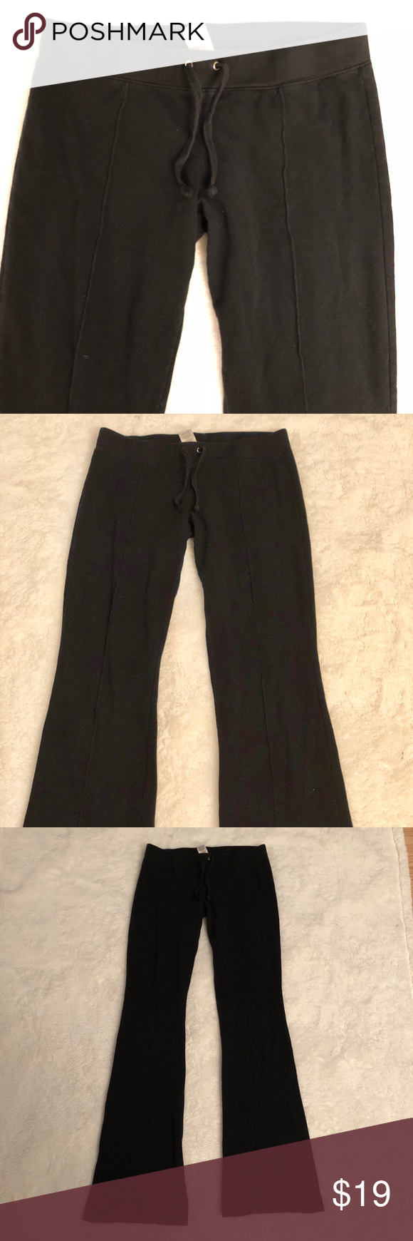 Juicy Couture bootcut lounge pants Juicy Couture black lounge pants with boot cut flare and pintuck seam down front. Has elastic waistband with drawstring. 95% cotton / 5% spandex - super soft and stretchy! Some signs of wear on the bottom in the back but otherwise excellent condition. Size P,  equivalent to an XS Juicy Couture Pants Leggings