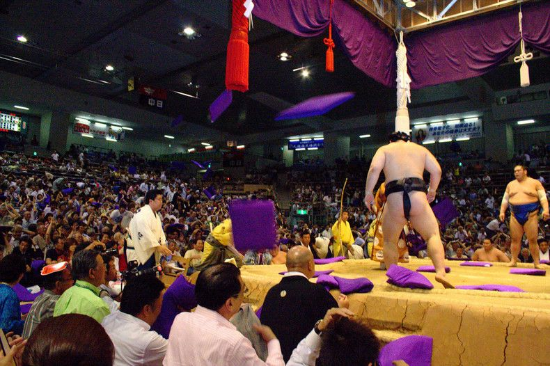 Zabuton Throwing Sumo stadiums typically offer tatami sections with zabuton pillow seats. It's customary to express your frustration with the result of a sumo match by throwing your zabuton pillow. Japan Guide, Nagoya, Sumo, Japanese, Traditional, Concert, Image, English, Japanese Language
