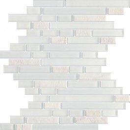 Glacier Random Strip Z Series White Marble & White Glass Tile. #Glacier_random, #White_marble, #White_glass_mosaic