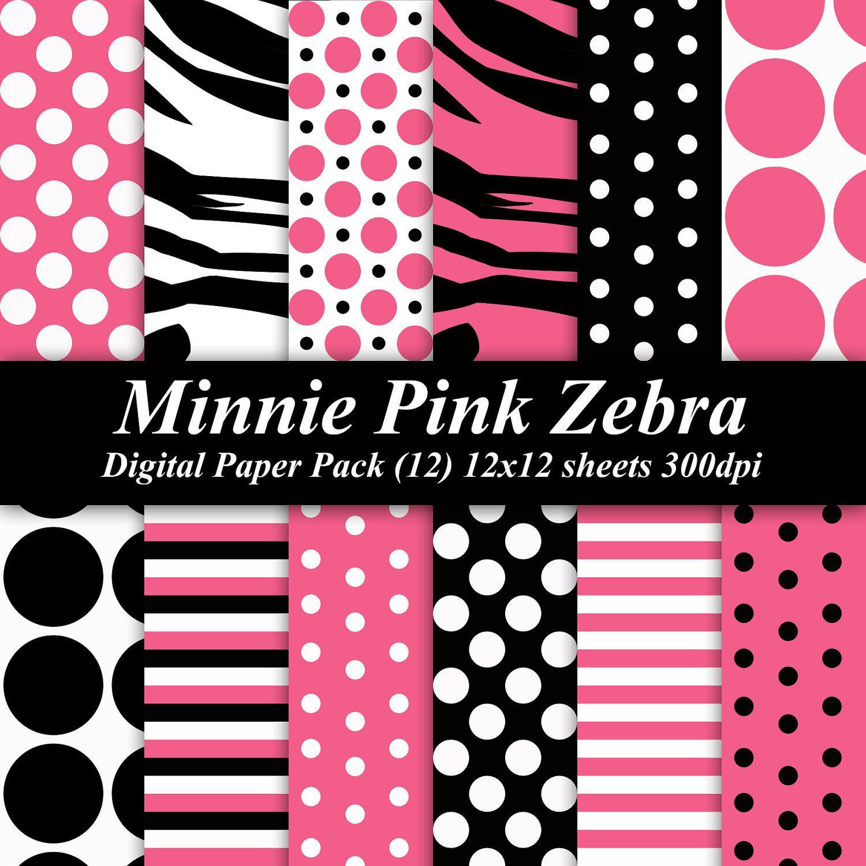 BUY 2 GET 1 FREE Minnie Mouse Zebra Digital Paper Pack
