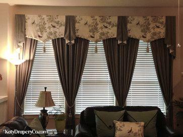 Valance With Tassles Living Room Houston Katy Drapery Co