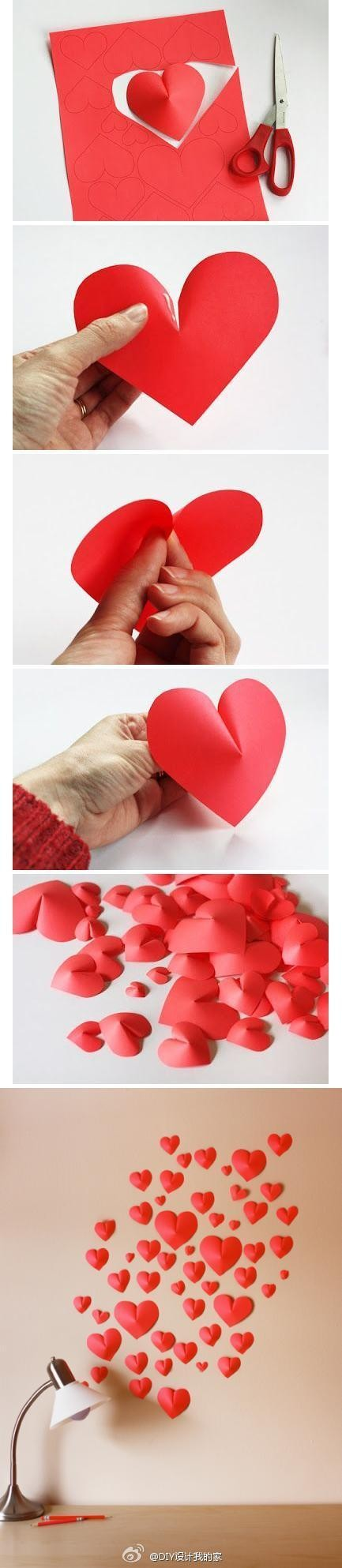 DIY心形纸墙,很有情调的墙壁装饰呢,起来给我们温馨的小屋增添更多的爱吧!