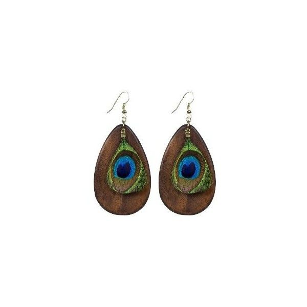 Peacock Feather Wood Drop Earring Target (7.99) liked