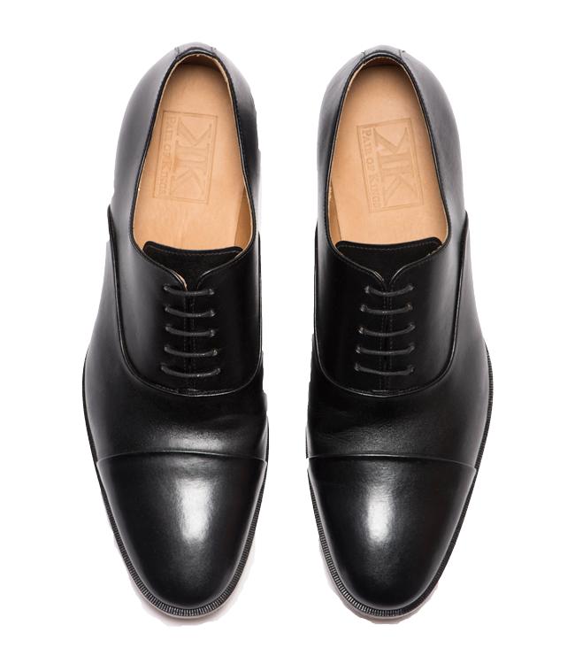 Leather Black Cap Mens Toe Oxford Shoes