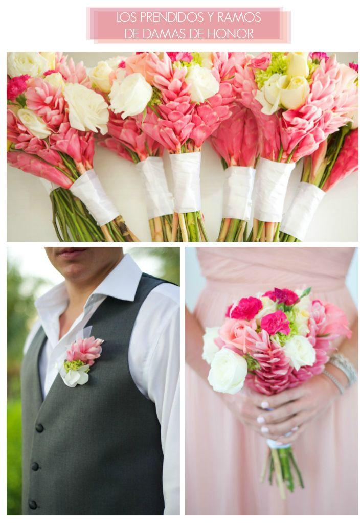 Ginger Lily. La Floripedia Parte 2. Una boda en Costa Rica. Prendidos y ramos de damas de honor.