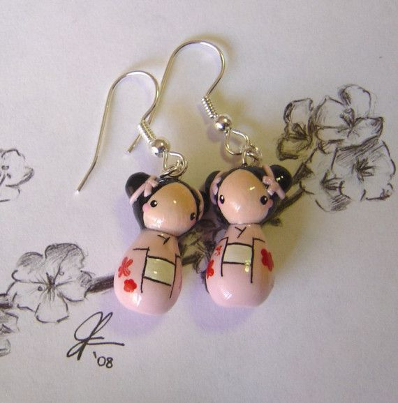 Etsy Transaction - Kokeshi Doll Earrings in Pink and White
