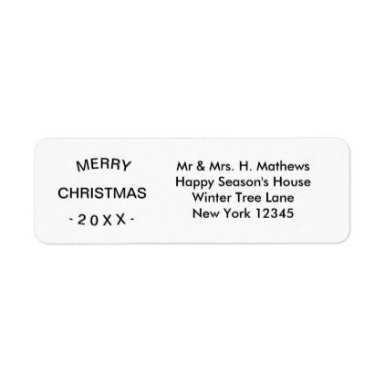 Merry Christmas White Return Address Label - christmas cards - address label