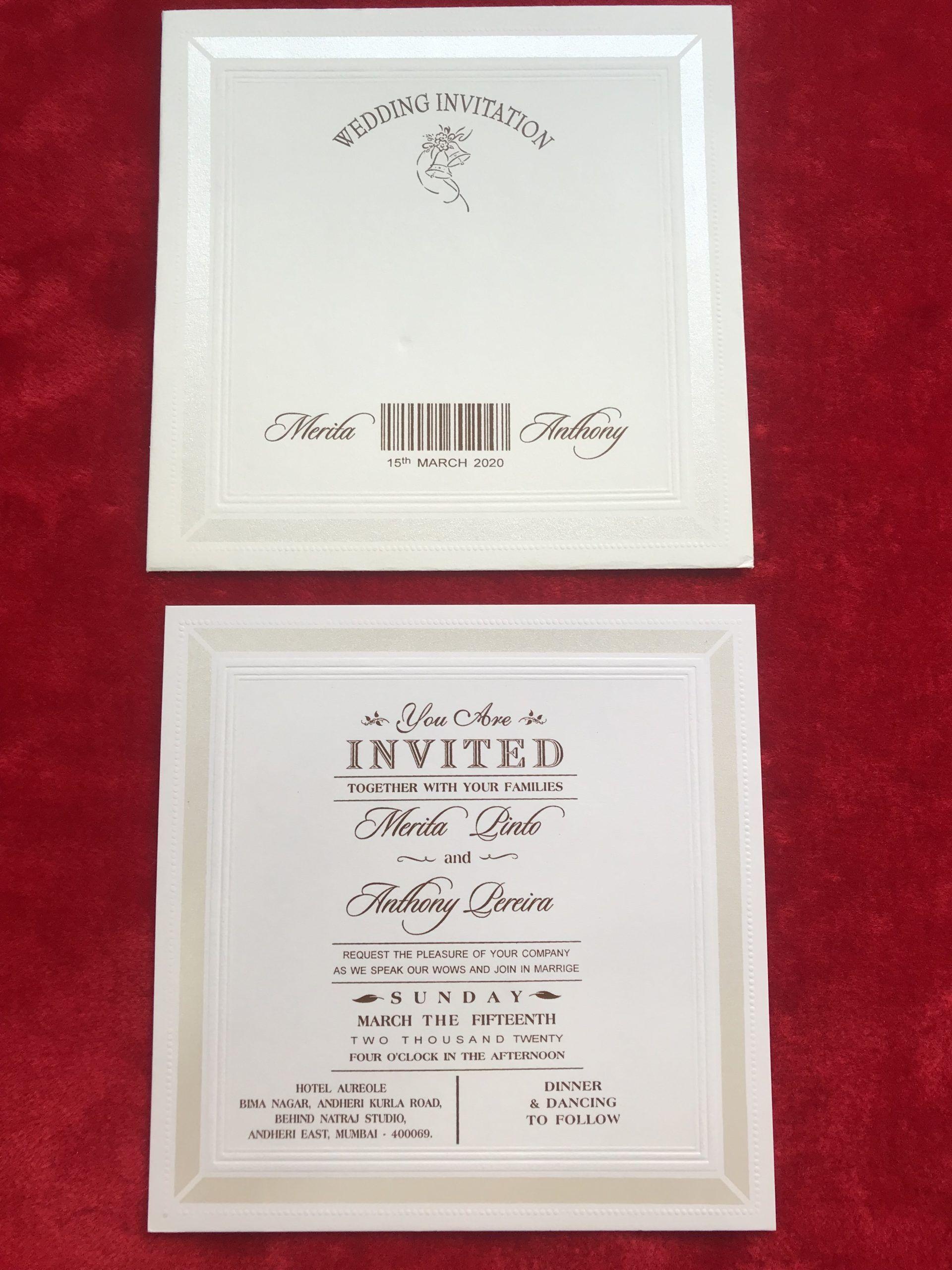 Single invitation card in 5  Wedding invitation cards